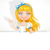 Beautiful cute girl hold big white banner — Stock Vector