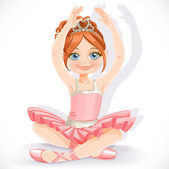 Ballerina girl in pink dress sit on floor isolated on a white ba — Stock Vector
