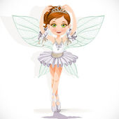 Beautiful little fairy girl in white dress and tiara isolated on — Stock Vector