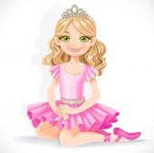 Cute ballerina girl in pink dress and tiara sit on floor isolate — Stock Vector