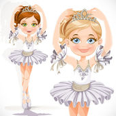 Beautiful little ballerina girl in white dress and tiara isolate — Stock Vector
