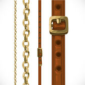 Leather belts with brass buckles and large and small seamless ch — Stockvektor