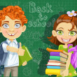 Back to school - curly-haired boy and cute girl with books at t — Stock Vector #53970923