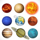 Vector illustration planets Solar system and sun isolated on whi — Stock Vector