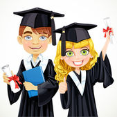 Cute teenage girl and boy in cap and gown graduate holding a scr — Stock Vector