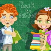 Back to school - curly-haired boy and cute girl  with books at t — Stock Vector