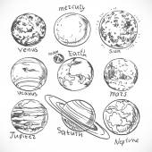 Doodle planets of the solar system isolated on white background — Stock Vector