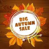 Background of a big autumn sale with red and yellow leaves on wo — Stock Vector