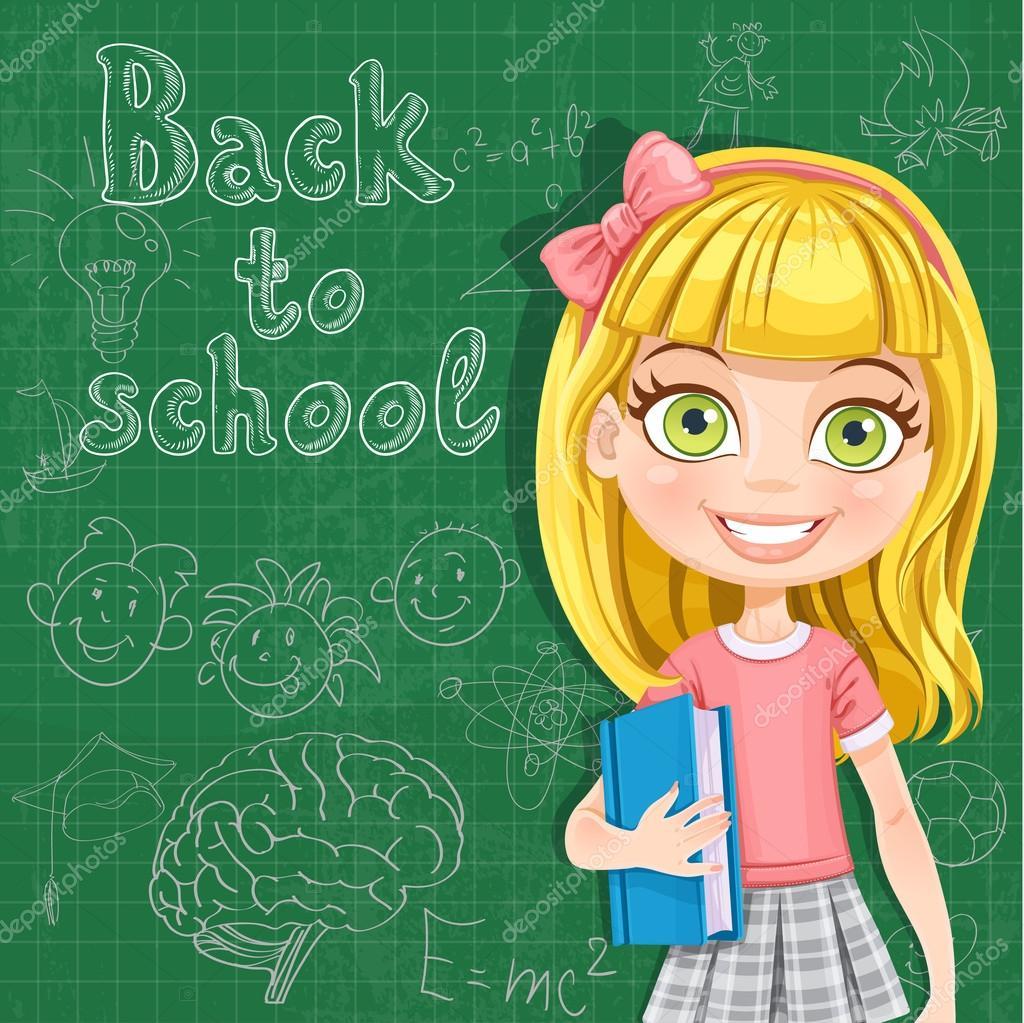 回到学校-可爱的金发女孩,在黑板前