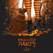Halloween party poster with witch legs in boots and broomstick — Stock Vector