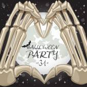 Halloween party poster with heart shape from fingers bones on mo — Stock Vector
