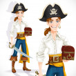 Постер, плакат: Cute pirate with cutlass and chest isolated on a white background