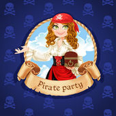Brave pirate girl with treasure chest. Banner for Pirate party — Stock Vector