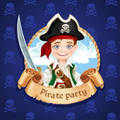 Cute little boy pirate with cutlass. Banner for Pirate party — Vetorial Stock
