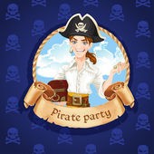 Cute young pirate with treasures . Banner for Pirate party — Stock Vector