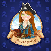 Cute woman pirate with treasure chest. Banner for Pirate party — Stock Vector