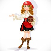 Cute pirate girl with chest isolated on a white background — Stock Vector