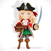 Cute pirate girl with cutlass and treasure chest isolated on a w — Vettoriale Stock