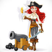 Cute pirate girl with parrot and cannonry isolated on a white ba — Stock Vector