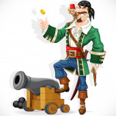 Cute pirate with monkey throw up golden coin stand  on cannon — Stock Vector