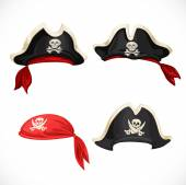 Set of pirate hats and bandana with Jolly Roger — Stock Vector