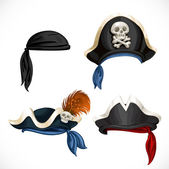 Set of pirate hats and bandana with Jolly Roger 1 — Stok Vektör