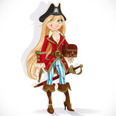 Cute blond pirate girl with cutlass, pistol and chest isolated o — Stock Vector