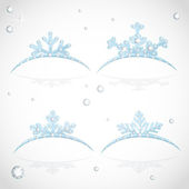 Blue Crown tiara snowflakes shaped for Christmas ball — Stock Vector