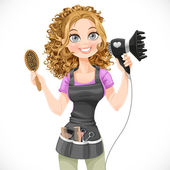 Cute girl hairdresser with hair dryer and hairbrush isolated on a white background — Stok Vektör