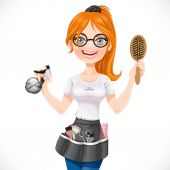 Cute redhead girl hairdresser with spray and hairbrush portrait — Stock Vector