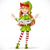 Cute girl elf with the words Merry Christmas garland — Stock Vector