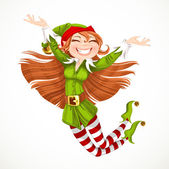 Cute girl Santa elf jump with joy isolated on a white background — Vettoriale Stock