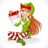 Cute girl Santa elf sit on floor hold gift  isolated on a white  — Stock Vector