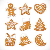 Christmas gingerbread isolated on white background — Stock Vector