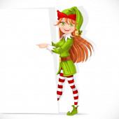 Cute Santa helper girl shows on a white blank banner — Stock Vector