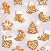 Seamless texture of Christmas gingerbread — Stock Vector