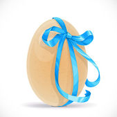 Yellow egg tied with a blue ribbon isolated on a white backgroun — Stock Vector
