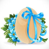 Yellow egg tied with a blue ribbon with a bouquet forget-me-not  — Stock Vector