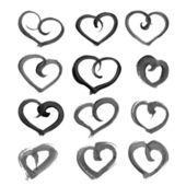 Big set of hand-drawn heart shape paint on paper — Stock Vector
