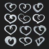 Big set of hand-drawn heart shape paint on black paper — Stock Vector