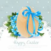 Blue vintage Easter banner with egg tied a blue ribbon and bouqu — Stock Vector