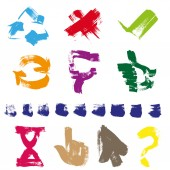 Figures different shapes and color drawn with a brush and paint — Stock Vector