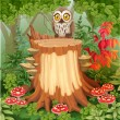 Fairy forest glade with cute owl sitting on stump surrounded by — Stock Vector #60954309