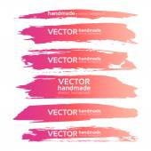Abstract realistic smears pink gouache paint set on white paper  — Stock Vector
