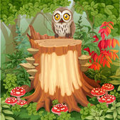 Fairy forest glade with cute owl sitting on stump surrounded by  — Stock Vector