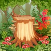 Forest glade with stump surrounded by toadstools  — Stock Vector