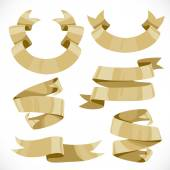 Set of vector festive golden ribbons various forms for decoratio — Stock Vector