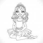 Ballerina girl in tutu and tiara sit on floor outlined isolated  — Stock Vector