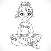 Beautiful ballerina girl in tutu and tiara sit on floor outlined — Vettoriale Stock