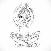 Beautiful ballerina girl in tutu sit on floor outlined isolated  — Stock Vector